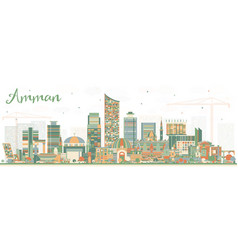 Amman jordan city skyline with color buildings vector
