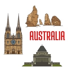 Australian buildings and landmarks icons vector image