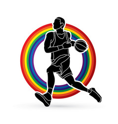 Basketball player running vector