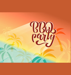 bbq party hand lettering logo design vector image