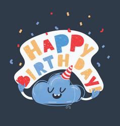 Birthday card funny cloud vector