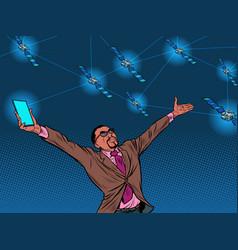 Black businessman and global satellite internet vector
