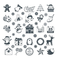 Black Christmas Characters Set vector image