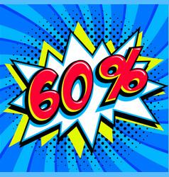 blue sale web banner super sale sixty percent 60 vector image