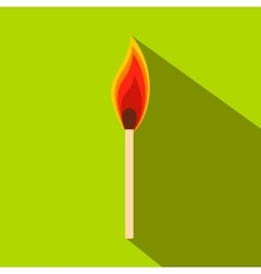 Burning match flat icon vector image