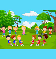 cartoon group of children playing tug vector image