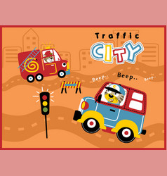 cartoon of city traffic with funny driver animals vector image