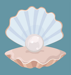 cartoon seashell with a pearl seashell vector image