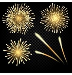 Celebratory bright fireworks on gradient vector