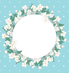 Cherry blossom round pattern on blue polka dot vector