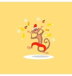 Christmas Monkey with Confetti Fruit vector image vector image