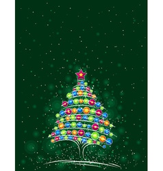 Christmas tree on the green background vector