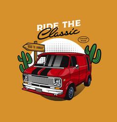 classic red vans car vector image