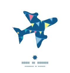 Colorful doodle bunting flags airplane silhouette vector