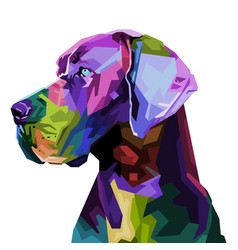 colorful great dane dog on pop art style vector image