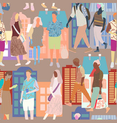 colorfull people walk along street in the vector image