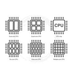 Computer processor icon set vector