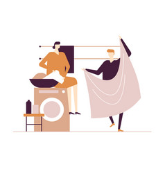 couple doing laundry - flat design style colorful vector image