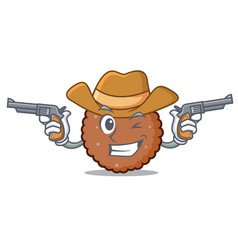 cowboy chocolate biscuit character cartoon vector image