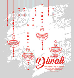 Diwali candle hanging to light festival vector