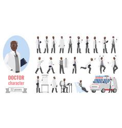 doctor man poses set cartoon elderly male medical vector image