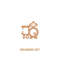 Drummer set concept 2 colored icon simple line vector