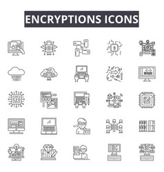 Encryptions line icons for web and mobile design vector