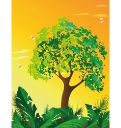 Evening landscape with tree vector image