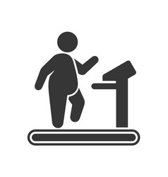 fat man on treadmill icon on white background vector image