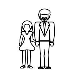 father and girl daughter together outline vector image