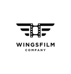 Film strip with wings logo design vector
