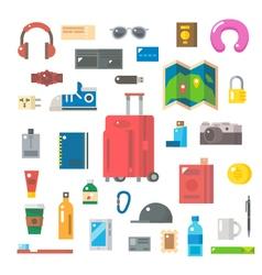 Flat design of travel items set vector image