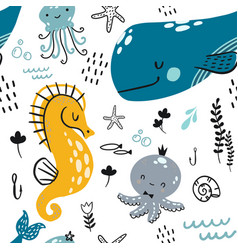 Flat doodle underwater childish pattern a vector