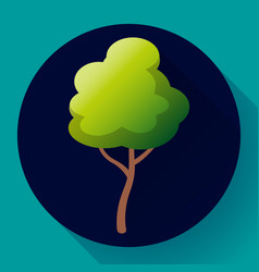 Flat green tree icon save forest and vector