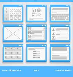 Flat windows frame set 2 vector
