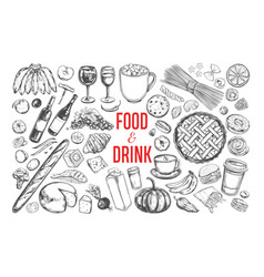 Food and drink big set 1 vector