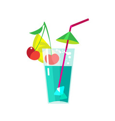 Fruit cocktail in transparent glass with straw vector