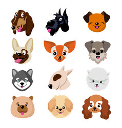 Funny cartoon dog faces cute puppy animal vector