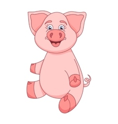 Funny piggy sitting and smiling vector image vector image