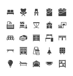 furniture flat glyph icons living room vector image
