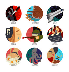 Genre cinema set icons cinematography comedy flat vector