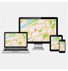 gps map on modern digital devices isolated on vector image