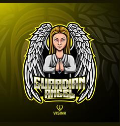 guardian angel mascot logo design vector image