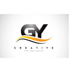 Gy g y swoosh letter logo design with modern vector