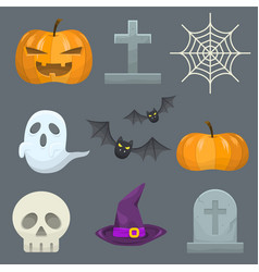 halloween icon collection vector image