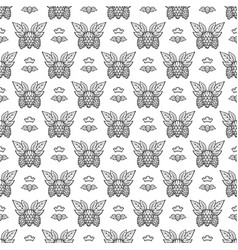 hand drawn hops with leaves seamless pattern vector image