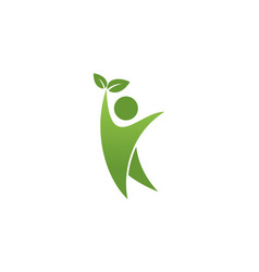 human leaf nature logo vector image