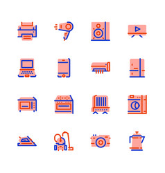 Icons household appliances pink vector