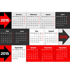 Infographic calendar 2015 with arrows vector image vector image