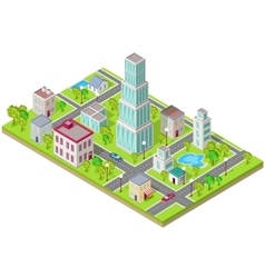 Isometric Icon of City Flat Design vector image